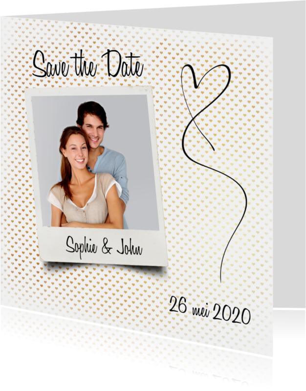 Trouwkaarten - Save the Date hartjes foto - SG