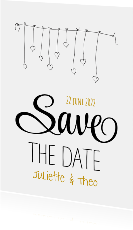 Trouwkaarten - Save the Date Hartjes Slinger SG