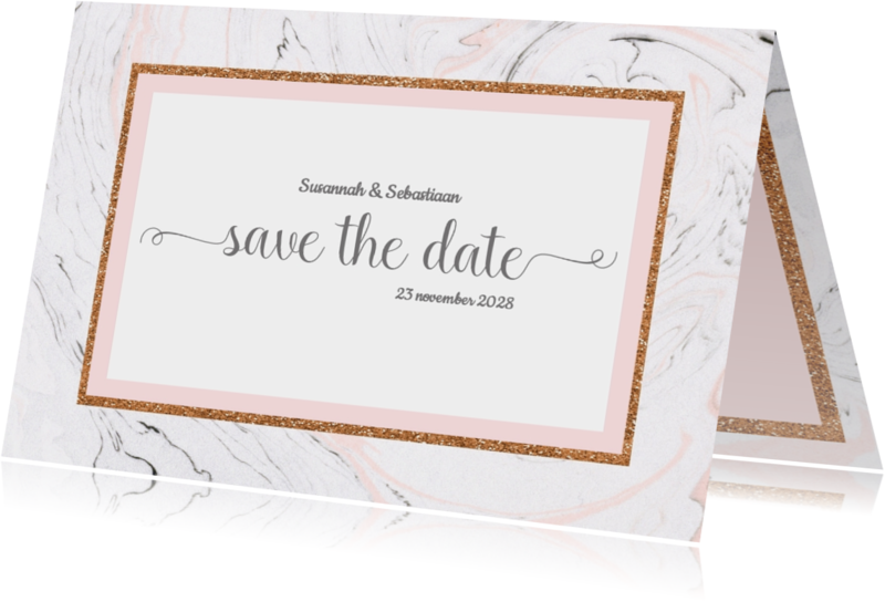Trouwkaarten - Save the date kaart met marmer