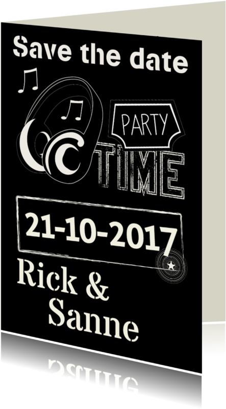 Uitnodigingen - Save the date party time muziek