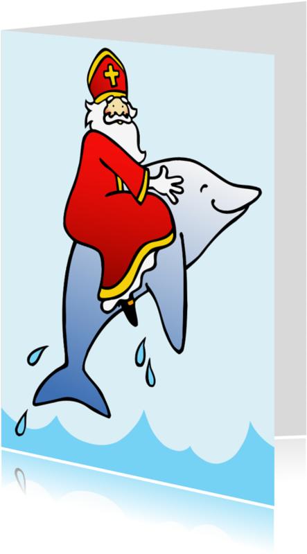 Sinterklaaskaarten - Sint op dolfijn