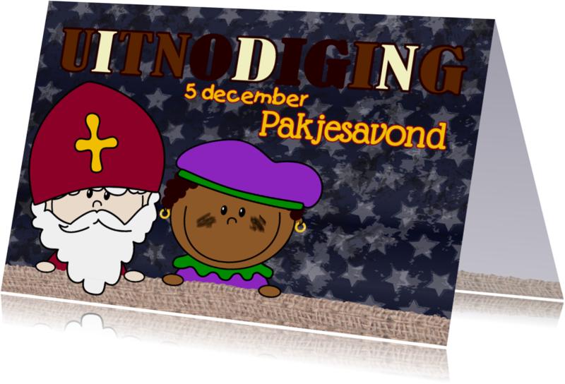 Sinterklaaskaarten - SINT uitnodiging Sint en Piet L