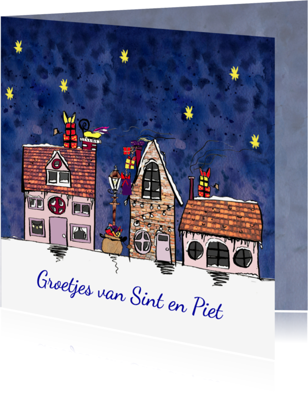 Sinterklaaskaarten - Sinterklaaskaart huisjes