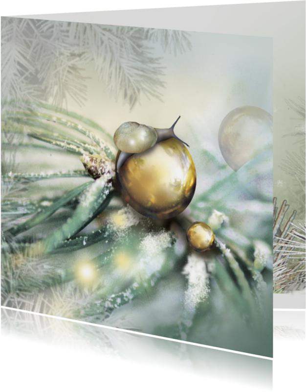 Kerstkaarten - Slakje op kerstbal