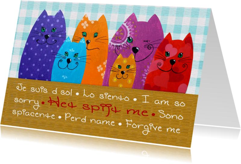 Sorry kaarten - Sorry kaart Katten het spijt me