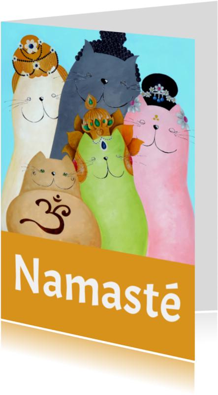 Religie kaarten - Spirituele kaart Boeddha katten
