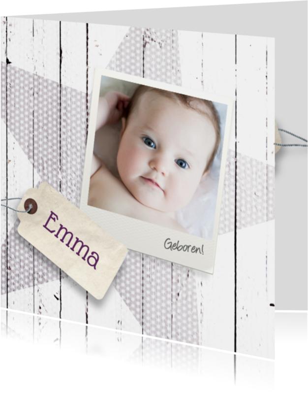 Geboortekaartjes - Ster-hout-foto-meisje