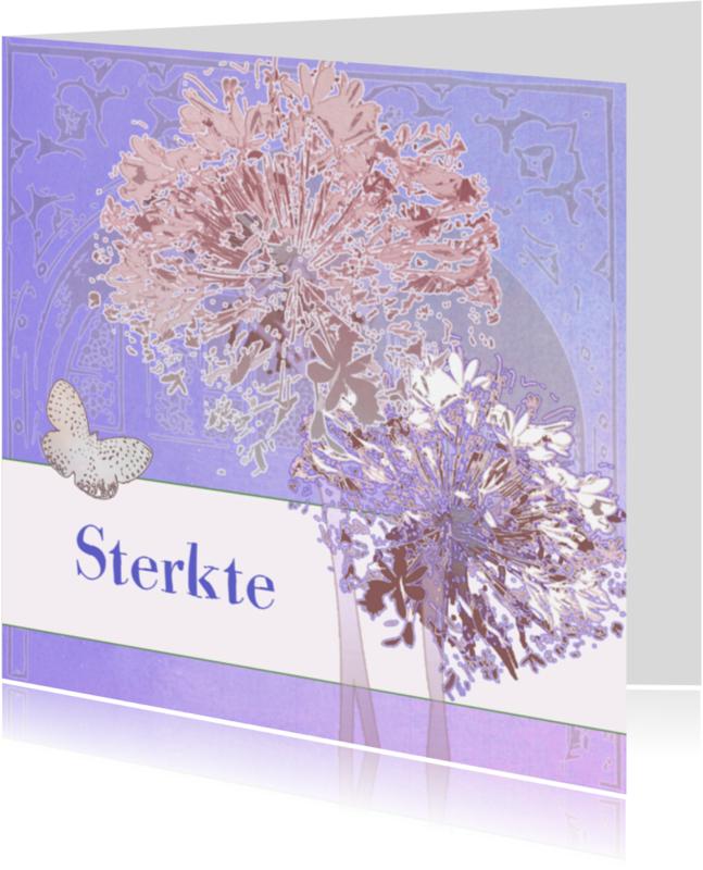 Sterkte kaarten - Sterkte Kaart Met Bloemen En Vlinder