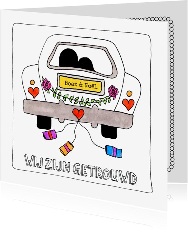 Trouwkaarten - Stiekem getrouwd kaart met trouwauto illustratie - SD