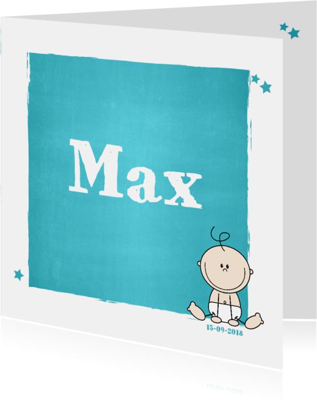 Geboortekaartjes - Stoer geboortekaartje met een lief jongetje