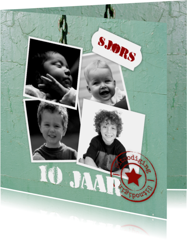 Kinderfeestjes - Stoere kaart met 4 foto's-isf