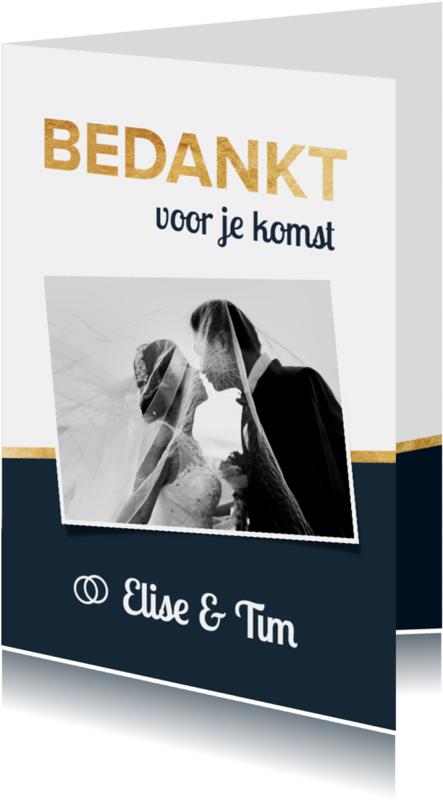Trouwkaarten - Strakke bedankkaart met foto