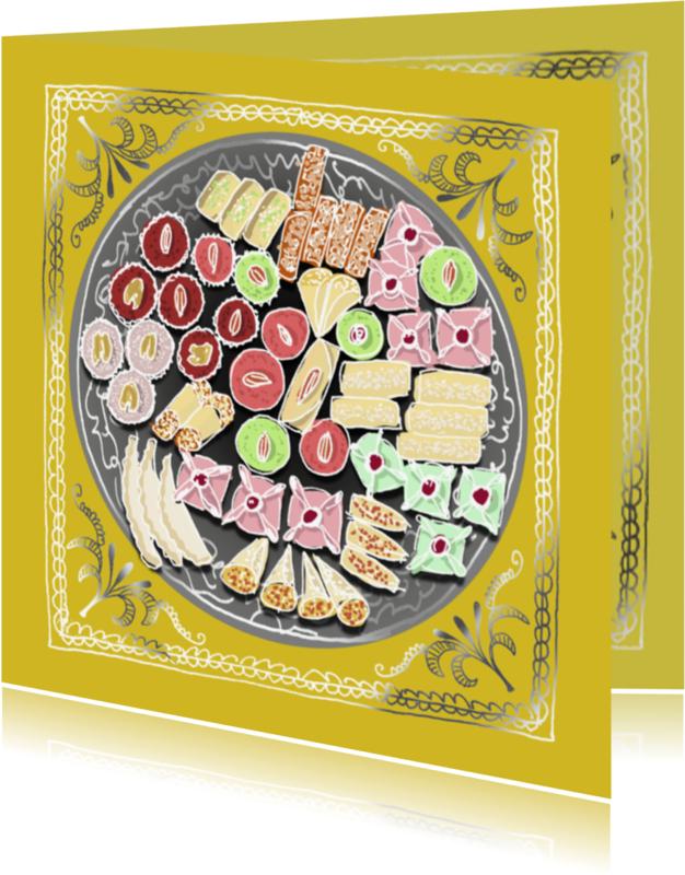 Religie kaarten - Suikerfeest hapjes zilver