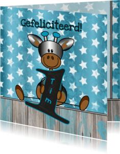 Verjaardagskaarten - 1 jaar! jongen giraffe