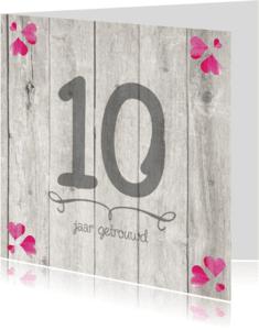 Jubileumkaarten - 10-jaar-huwelijk-hout-cijfer
