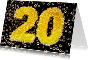 Jubileumkaarten - 20 in feestelijke champagne