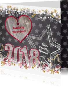 Nieuwjaarskaarten - 2018 hout ster grijs