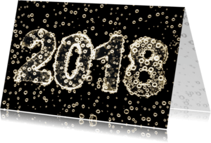 Nieuwjaarskaarten - 2018 in champagne bubbels