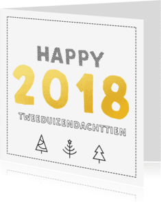 Nieuwjaarskaarten - 2018  in goud zwart/wit