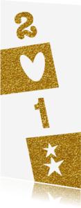Nieuwjaarskaarten - 2018 Moderne hippe  nieuwjaarskaart goud wit