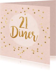 Uitnodigingen - 21 diner party confetti
