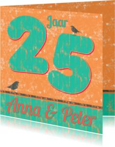 Jubileumkaarten - 25 jarig jubileum retro stijl