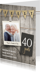 Jubileumkaarten - 40 jaar getrouwd jubileum uitnodiging