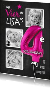 Kinderfeestjes - 4e Verjaardag ballon roze - SG