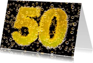 Jubileumkaarten - 50 in feestelijke champagne