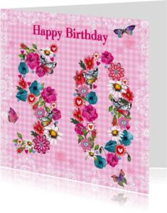 Verjaardagskaarten - 50 jaar Verjaardag Bloemen Vrolijk