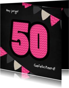 Verjaardagskaarten - 50 Zigzag en vlaggen roze