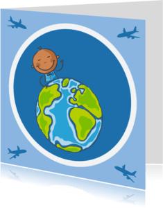 Geboortekaartjes - Aankomstkaart jongetje van de wereld