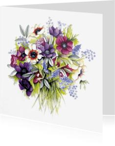 Bloemenkaarten - anemonen boeket in aquarel