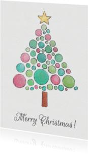Kerstkaarten - Aquarel kerst kaart - SU