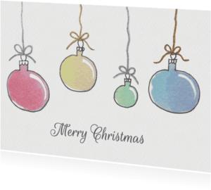 Kerstkaarten - Aquarel kerstballen - SU