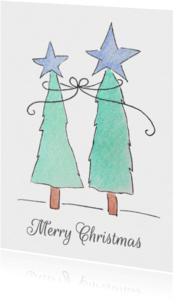 Kerstkaarten - Aquarel kerstbomen - SU