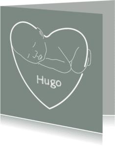 Geboortekaartjes - Baby en naam in hart