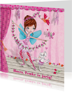 Verjaardagskaarten - Ballerina Ballet Jarig Carita Design
