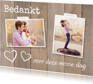 Trouwkaarten - Bedankkaart foto hartjes houtprint - LB