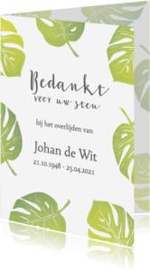 Rouwkaarten - Bedankkaart groene bladeren