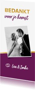 Trouwkaarten - Bedankkaartje paars met foto