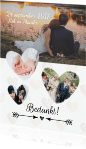 Trouwkaarten - Bedanktkaartje bruiloft met foto's en hartjes