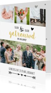 Trouwkaarten - Bedanktkaartje bruiloft met foto's