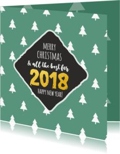 Kerstkaarten - Best wishes groene kerstbomen