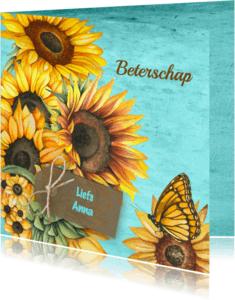 Beterschapskaarten - Beterschap zonnebloemen label