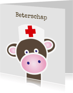 Beterschapskaarten - Beterschapskaart met een aapje