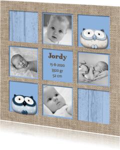 Geboortekaartjes - Blauwe geboortekaart vakken