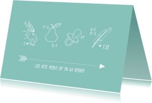 Kinderfeestjes - Blauwe rebus uitnodigingskaart