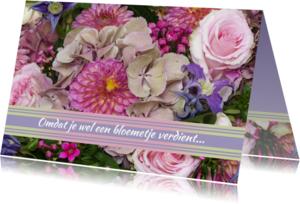 Bloemenkaarten - Bloemen roze luxe najaarsboeket