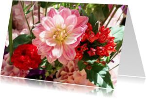Bloemenkaarten - Bloemen roze&rood